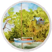 Tasmanian Yacht 'weene' 105 Year Old A1 Design Round Beach Towel