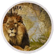 Taste Of Africa Lion Round Beach Towel