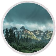 Tatoosh With Storm Clouds Round Beach Towel