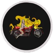Tattoo Pinup Girl On Her Motorcycle Round Beach Towel