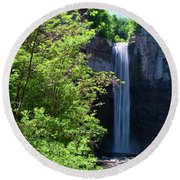 Taughannock Falls 0466 Round Beach Towel by Guy Whiteley