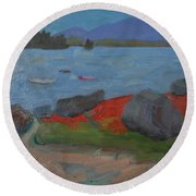 Round Beach Towel featuring the painting Taunton Bay by Francine Frank