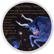 Taurus Birthday Zodiac Astrology Round Beach Towel