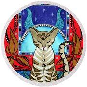 Taurus Cat Zodiac Round Beach Towel