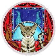 Taurus Cat Zodiac Round Beach Towel