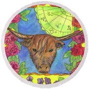 Round Beach Towel featuring the painting Taurus by Cathie Richardson