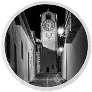 Tavira Church Bell Tower At Night - Portugal Round Beach Towel