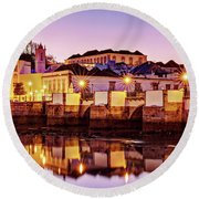 Tavira Reflections - Portugal Round Beach Towel