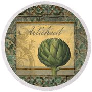 Tavolo, Italian Table, Artichoke Round Beach Towel by Mindy Sommers