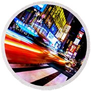 Taxis In Times Square Round Beach Towel