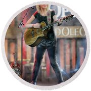 Taylor At The Opry Round Beach Towel by Don Olea