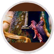 Taylor Swift As Rapunzel Round Beach Towel
