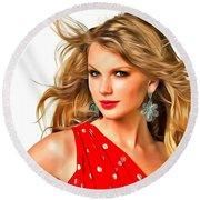 Taylor Swift Round Beach Towel by Galeria Zullian  Trompiz