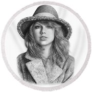 Taylor Swift Portrait Drawing Round Beach Towel by Shierly Lin