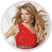 Taylor Swift Round Beach Towel by Twinkle Mehta