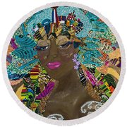 Round Beach Towel featuring the tapestry - textile Tdot Caribana by Apanaki Temitayo M