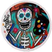 Round Beach Towel featuring the painting Te Amo Painter Dia De Los Muertos by Pristine Cartera Turkus