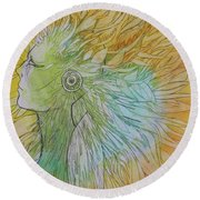 Round Beach Towel featuring the drawing Te-fiti by Marat Essex