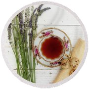 Round Beach Towel featuring the photograph Tea And Cookies Still Life by Rebecca Cozart