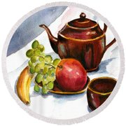 Tea And Fruit Round Beach Towel