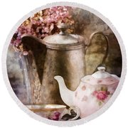 Round Beach Towel featuring the painting Tea And Grapes by Mo T