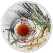 Round Beach Towel featuring the photograph Tea And Lavender 3 by Rebecca Cozart