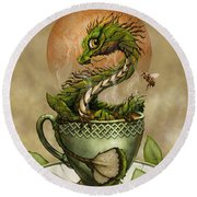 Tea Dragon Round Beach Towel by Stanley Morrison