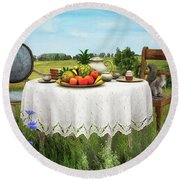 Round Beach Towel featuring the digital art Tea For Two by Jutta Maria Pusl