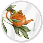 Tea Frog Round Beach Towel by Amy Kirkpatrick