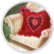 Round Beach Towel featuring the painting Tea In A Victorian Cottage Garden by Nancy Lee Moran