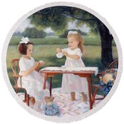 Round Beach Towel featuring the pastel Tea Party by Nancy Lee Moran