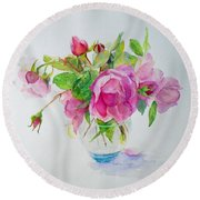 Tea Rose Round Beach Towel by Beatrice Cloake
