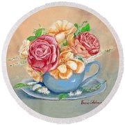 Tea Roses Round Beach Towel