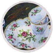 Tea Set Round Beach Towel by Alexandra Maria Ethlyn Cheshire