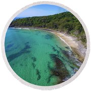 Round Beach Towel featuring the photograph Tea Tree Bay In Noosa National Park by Keiran Lusk
