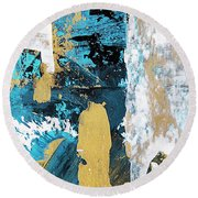Round Beach Towel featuring the painting Teal Abstract by Christina Rollo