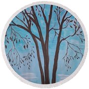 Round Beach Towel featuring the painting Teal And Brown by Leslie Allen