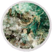 Round Beach Towel featuring the painting Teal And Cream Abstract Painting by Ayse Deniz