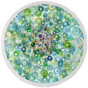 Teal And Olive Concavity Round Beach Towel