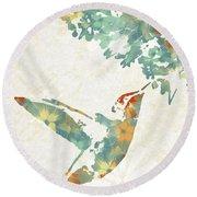 Floral Hummingbird Art Round Beach Towel