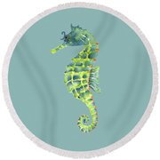 Teal Green Seahorse Round Beach Towel by Amy Kirkpatrick