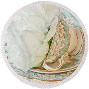 Teal Peony For Real  Round Beach Towel
