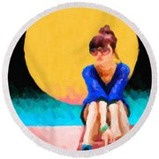 Round Beach Towel featuring the digital art Teal Sneakers by Serge Averbukh