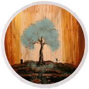 Teal Turquoise Tree Round Beach Towel