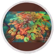Teal Waterlilies 1 Round Beach Towel