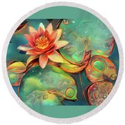 Teal Waterlilies 11 Round Beach Towel