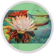 Teal Waterlilies 12 Round Beach Towel