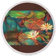 Teal Waterlilies 2 Round Beach Towel