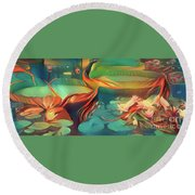 Teal Waterlilies 3 Round Beach Towel