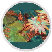 Teal Waterlilies 4 Round Beach Towel
